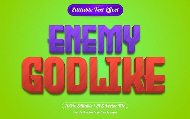 Style de jeux d'effet de texte modifiable ennemi divin