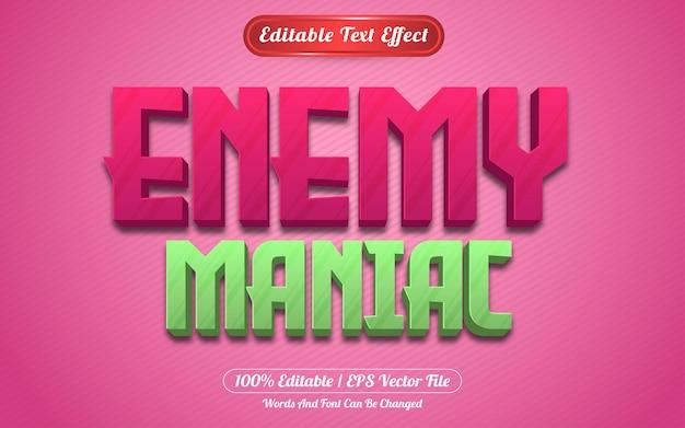 Style de jeux d'effet de texte modifiable ennemi maniaque