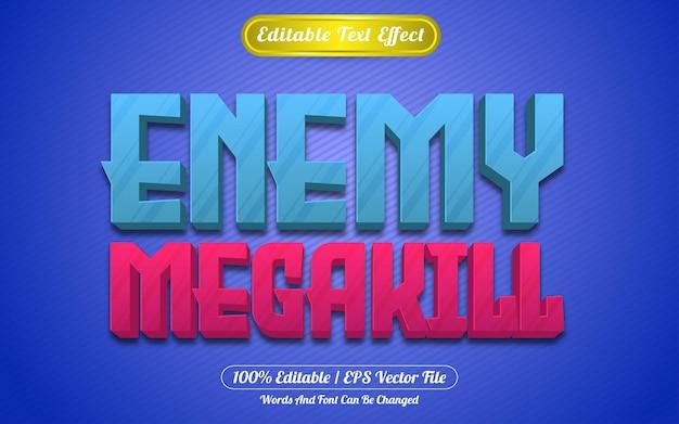 Style de jeux d'effet de texte modifiable ennemi