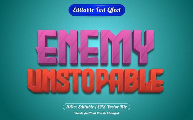 Style de jeux d'effet de texte modifiable imparable ennemi