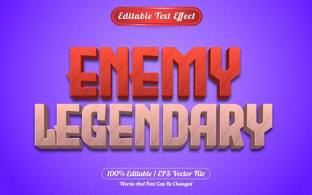 Style de jeux d'effet de texte modifiable légendaire ennemi