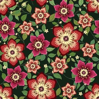 Style de lierre guirlande de fleurs roses avec branche et feuilles, modèle sans couture