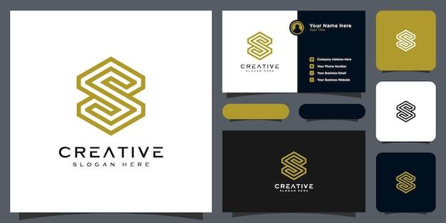 Style de ligne de conception de vecteur de lettre initiale s logo