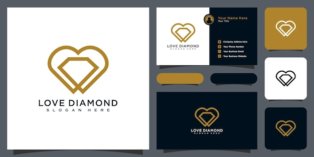 Style de ligne de conception de vecteur de logo de diamant d'amour et carte de visite