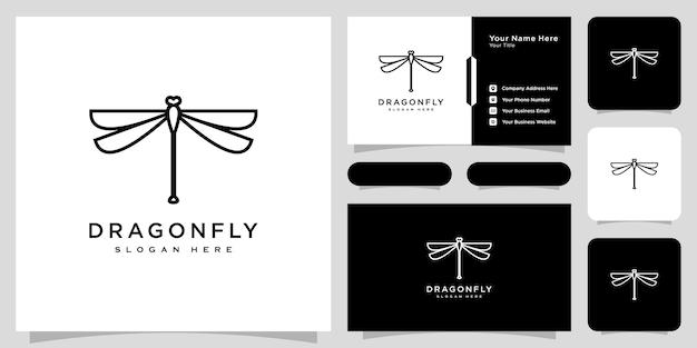 Style de ligne de conception de vecteur de logo de libellule et conception de carte de visite