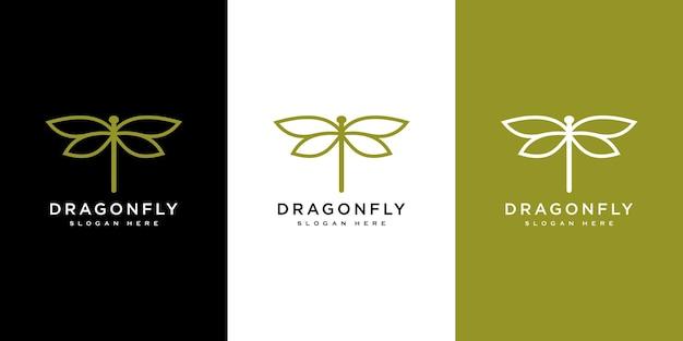 Style de ligne de conception de vecteur de logo de libellule