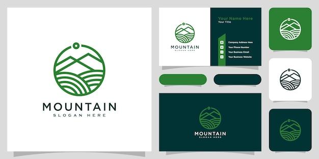 Style de ligne de conception de vecteur de logo de montagne et carte de visite