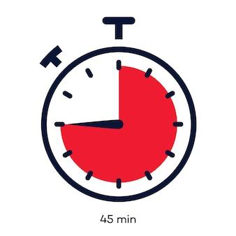 Style de ligne de couleur de symbole de minutes de minuterie d'isolement sur le temps de cuisson de chronomètre d'horloge de fond blanc