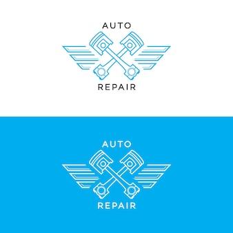 Style de ligne de jeu de logo de réparation automatique isolé sur fond pour atelier de service automobile