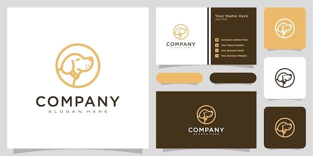 Style de ligne de vecteur de logo de tête de chien et carte de visite