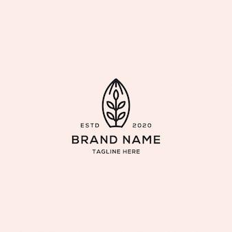 Style linéaire abstrait logo feuille arbre