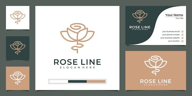 Style linéaire abstrait de logo de fleur de mode de luxe. modèle de conception de logo de lignes de rose tulipe en boucle
