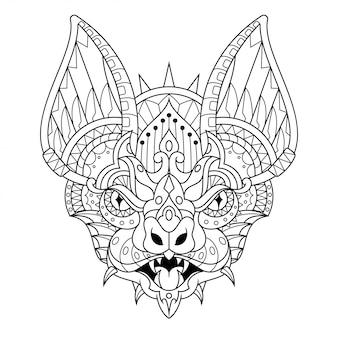 Style linéaire de chauve-souris mandala zentangle