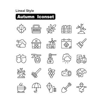 Style linéaire et collection d'icônes d'automne et d'automne