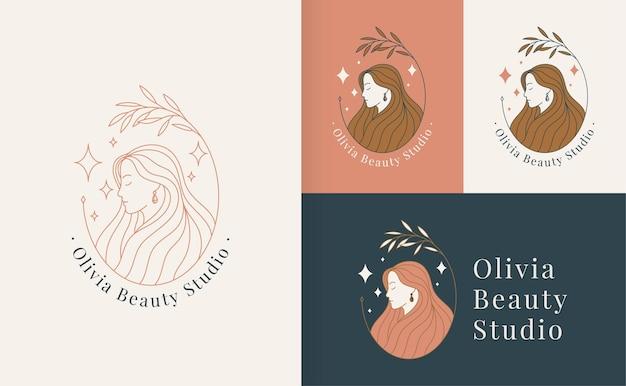 Style linéaire de logo femme beauté visage, studio de beauté et modèle de marque cosmétique