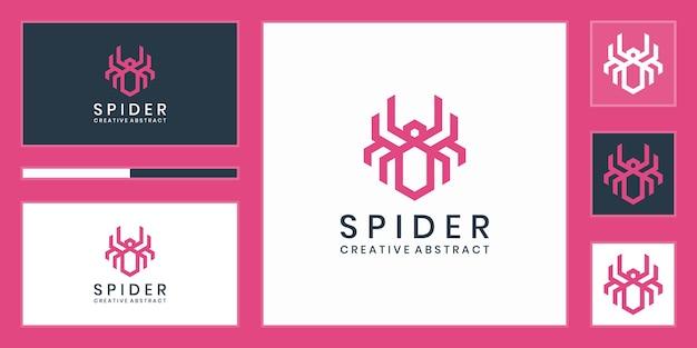 Style linéaire de modèle de conception de logo araignée