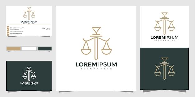 Style linéaire de modèle symbole avocat avocat avocat modèle. bouclier épée loi cabinet juridique sécurité entreprise logo et carte de visite