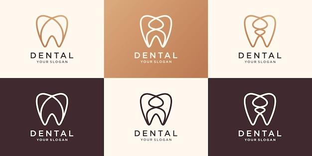 Style linéaire de modèle de vecteur de conception de logo de dent de santé minimale. icône de concept de logotype de clinique dentaire.