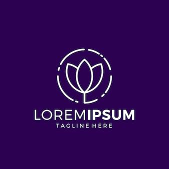 Style linéaire simple de logo de lotus