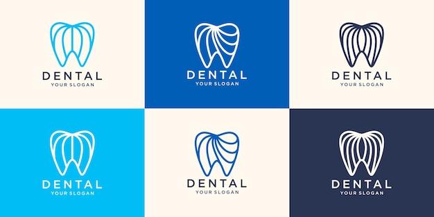 Style linéaire simple de modèle de vecteur de conception de logo de dent de santé. icône de concept de logotype de clinique dentaire.