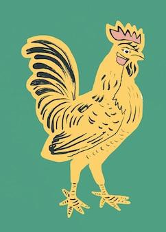 Style de linogravure d'oiseau coq jaune vintage