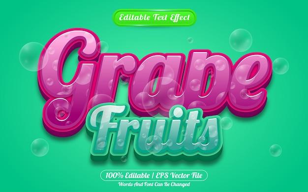 Style liquide d'effet de texte modifiable de fruits de raisin