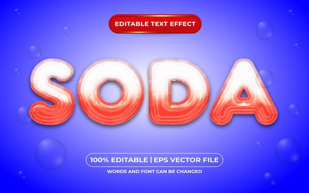 Style liquide d'effet de texte modifiable de soda