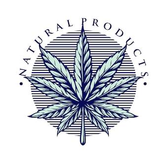 Style de logo de feuille de marijuana vintage weed