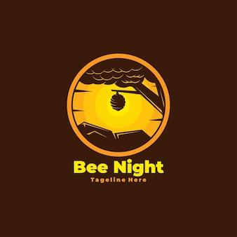 Style de logo de nuit d'abeille