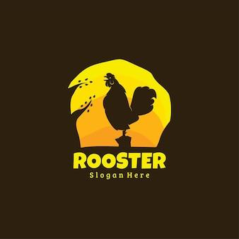 Style De Logo Sombre Qui Chante Le Coq Vecteur Premium