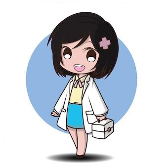 Style de médecin de personnage de dessin animé mignon.
