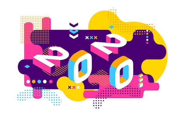 Style de memphis couleur 2020. bannière avec numéros 2020. nouvel an