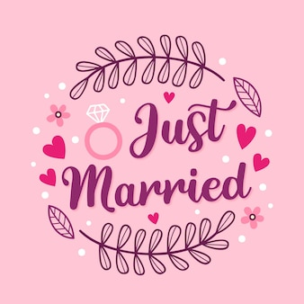 Style de message de mariage lettrage mignon