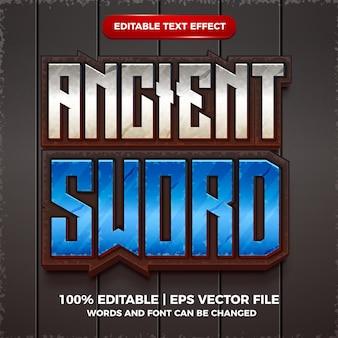 Style de modèle 3d de dessin animé effet de texte modifiable d'épée ancienne