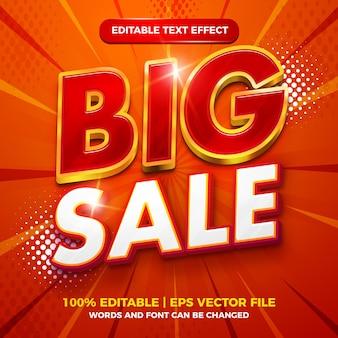 Style de modèle 3d or de luxe rouge effet de texte modifiable de grande vente