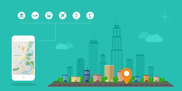 Style de modèle de bannière web pour site web ou infographie, système gps de navigation mobile, emplacement de destination, repérage et trouver le bon chemin.