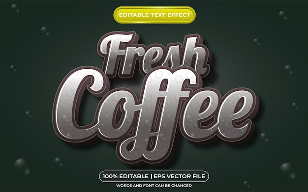 Style de modèle de café frais effet texte modifiable