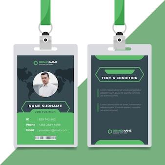Style de modèle de cartes d'identité avec photo