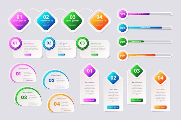 Style de modèle de collection d'éléments infographiques