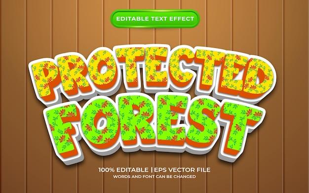 Style de modèle d'effet de texte de forêt protégée