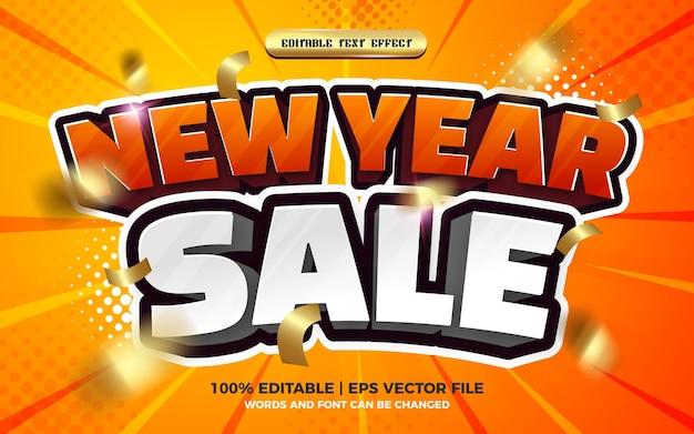 Style de modèle d'effet de texte modifiable de bande dessinée 3d de vente de nouvel an
