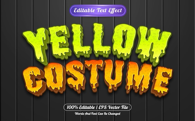 Style de modèle d'effet de texte modifiable de costume jaune
