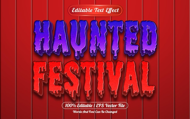 Style de modèle d'effet de texte modifiable du festival hanté