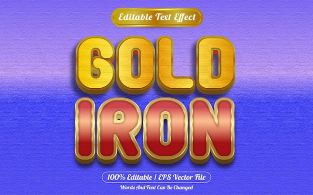 Style de modèle d'effet de texte modifiable en fer doré