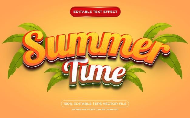 Style de modèle d'effet de texte modifiable de l'heure d'été 3d