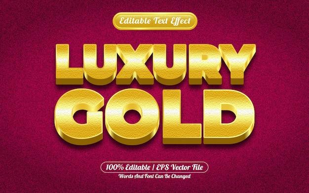 Style de modèle d'effet de texte modifiable en or 3d de luxe