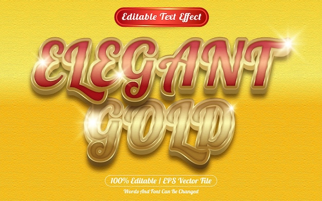 Style de modèle d'effet de texte modifiable en or élégant