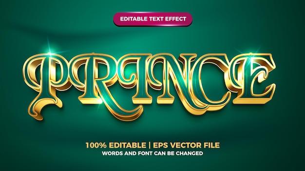 Style de modèle d'effet de texte modifiable en or de luxe prince