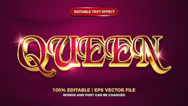 Style de modèle d'effet de texte modifiable en or de luxe queen