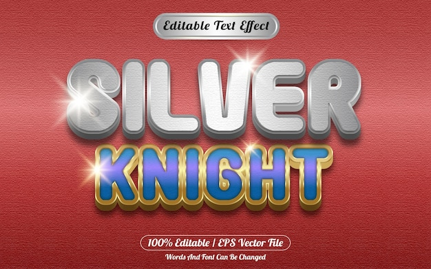 Style de modèle d'effet de texte modifiable silver knight